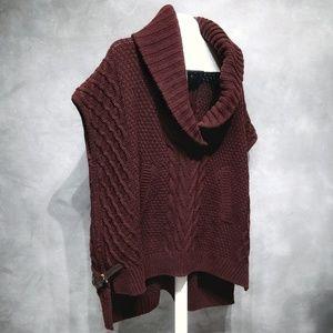 Saks Fifth Avenue Burgundy Wool Cape Sweater